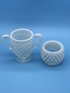 Fenton Opalescent Hobnail Clear to White Individual Sugar Dish Toothpick Holder