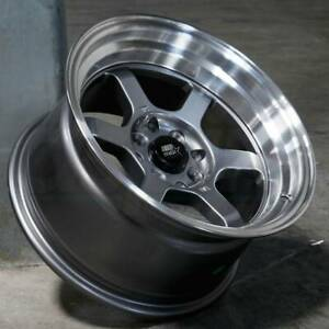 15x8 Gunmetal Wheels Mst Time Attack 4x100 4x114 3 0 Set Of 4