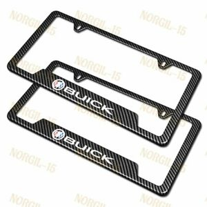 New For Buick Carbon Fiber Look License Plate Frame Abs X2