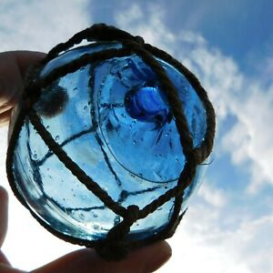 Awesome Vintage Genuine Netted Blue Tint Japanese Glass Float Marked 2