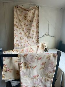 Antique French Fabric Vintage Pink Green Floral Cotton Textile Country House 1pc