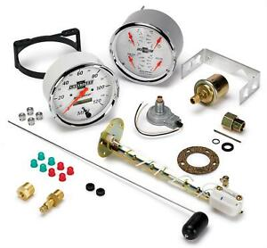 Gauge Kit White Speedometer Water Temperature Fuel Level Voltmeter Oil Pressure