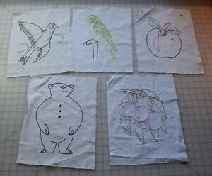 7810 5 Vintage 1950 60 S Embroidered Quilt Blocks Fruit And Animals
