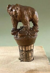 Antique Black Forest Adirondack Carved Bear Bottle Cork Stopper Great Condition