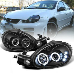 00 02 Dodge Neon New Halo Projector Led Black Headlamp Headlight Assembly