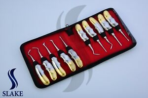 10 Dental Elevators Extraction Surgical Instruments New Gold