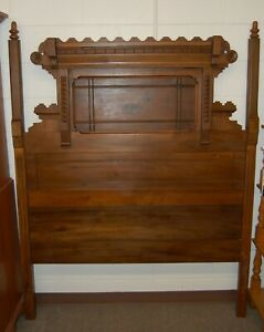 Antique Vintage Victorian Canopy Bed Headboard Footboard Rails Full Size Walnut
