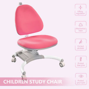 Pink Kids Chair With Wheel Student Ergonomic Desk Chair Correct Posture Office