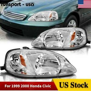 Chrome Headlights For Honda Civic 1999 2000 2 4 Door Dx Ex Ex R Si Headlamp Pair