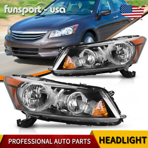 For 2008 2012 Honda Accord 4 door Sedan Black Headlight Headlamp Pair Left right