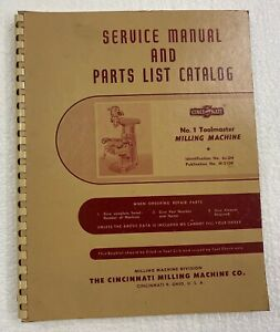 Cincinnati No 1 Toolmaster Milling Machine Service Manual Parts List Catalog