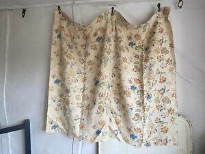 Antique French Fabric Vintage Linen Curtain Panel Textile Home Decor Furnishing