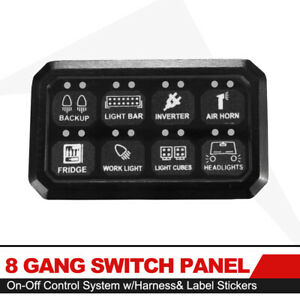 8 Gang Switch Panel On off Control System With Harness Label Stickers Universal