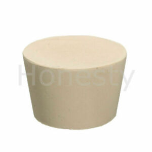 White solid Rubber Stopper Bung Laboratory Seal Flask Tapered Tube Plug Size 10