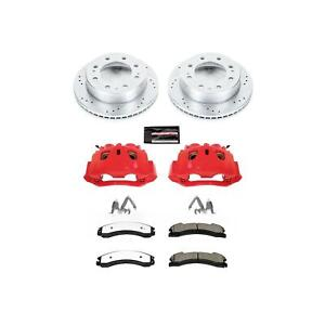 Disc Brake Kits Red Calipers Drilled slotted Rotors Truck And Tow Pads Front Che