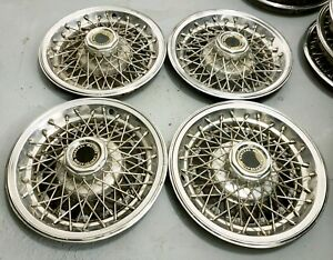 Vintage Set Of 4 Oem 14 General Motors Corp 14 Rwd Wire Hubcaps Wheel Covers