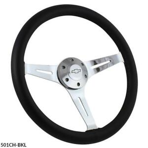 Black Leather Chrome 15 Steering Wheel W Chevy Horn Boss 1968 1982 Corvette