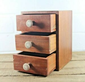 Small Antique Miniature Teak Chest Of Drawers Desk Top Jewellery Box C 1920s