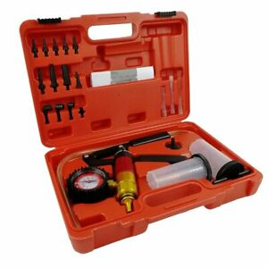 21pc Handheld Vacuum Pump Set Tester With Adapters Brake Fluid Bleeder For Car