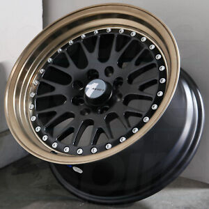 15x8 Matte Black Bronze Lip Wheels Avid1 Av12 Av 12 4x100 25 set Of 4