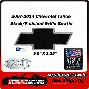 2007 2014 Chevy Tahoe Black Polished Billet Bowtie Grille Emblem Ami 96293kp