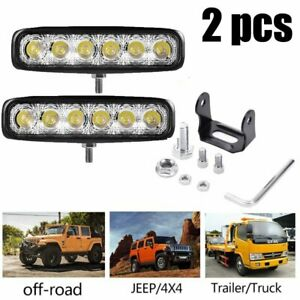 2pcs 18w 6 Led Work Light Bar Flood Spot Lamp Offroad Driving Fog 4wd Suv Truck