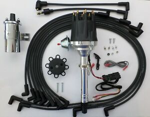 Chevy 327 350 Pro Series Hei Distributor Chrome Coil black Wires Under Exhaust
