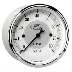 Autometer Ford Racing Tachometer 0 8 000 3 1 8 Dia In dash White gray Face