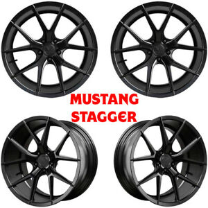20 Verde V99 Axis Satin Black Staggered Wheels For Mustang Gt Ecoboost