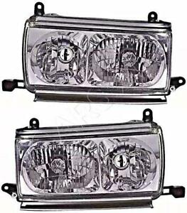Headlight Set Crystal Clear For Toyota Land Cruiser 80 1990 1997