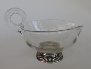 Vintage Frank M Whiting Sterling Silver Glass Gravy Sauce Boat Heart Shape