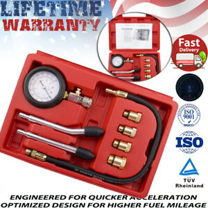 Cylinder Compression Tester Test Tool Kit Professional Gas Engine 4 Adapters Us
