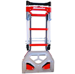 Milwaukee Steel Folding Hand Truck Moving Dolly Cart Wheels Vertical Horizontal