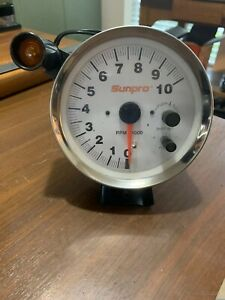 Sunpro Race Street Strip 5 Tachometer Black chrome silver Tach Hot Rat Rod Euc