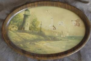 Antique Small Size Artwork Print Lighthouse Great Old Metal Wood Grain Frame