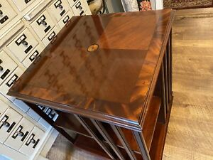 Vintage Mahogany Inlayed Rolling Rotating Library Revolving Bookcase Side Table