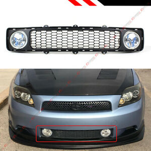 For 2005 2010 Scion Tc Jdm Mesh Front Lower Grill W Clear Lens Fog Lamp Lights