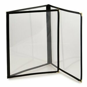25 Pack Black Menu Covers Three Page 6 View Fits 8 5 X 11 Inch