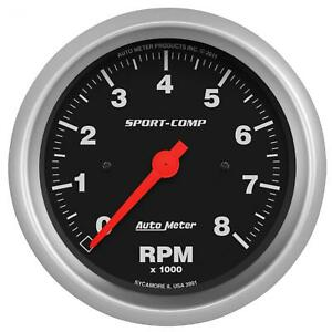 Autometer Sport comp Series Tachometer 0 8 000 3 3 8 Dia In dash Black Face