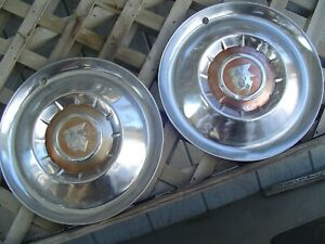 Two 1955 55 Mercury Hubcaps Montclair Monterey Wheel Covers Antique Vintage