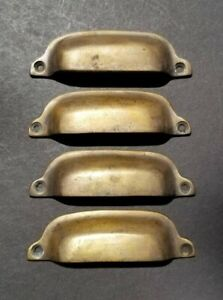 4 Antique Vintage Style Brass File Cabinet Bin Pull Cup Handles 3 3 8 Ctr A19