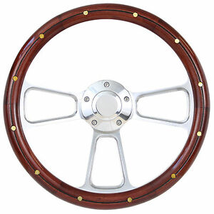 Hot Rod Street Rod Rat Rod Truck Real Wood Billet Steering Wheel Horn