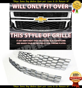 2015 2020 Chevy Tahoe Suburban Chrome Snap On Grille Overlays Grill Cover Insert