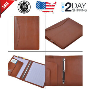 Leather Organizer Padfolio With 3 Ring Binder Fits Letter Size A4 Notepad Brown