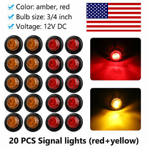 20pcs Red Amber 3led Clearance Marker Lights 3 4 Inch Round Truck Trailer Bulb