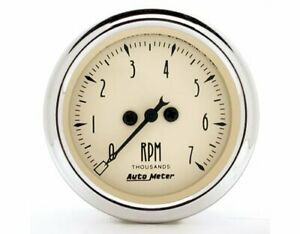 Autometer Antique Beige Tachometer 0 7 000 2 1 16 Dia In dash Beige Face 1897