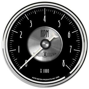 Autometer Prestige Analog Tachometer 0 8 000 3 3 8 Dia In dash Black Face 2096