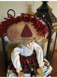 Primitive Country Doll Christmas Farm House Grungy Doll 20 Inches