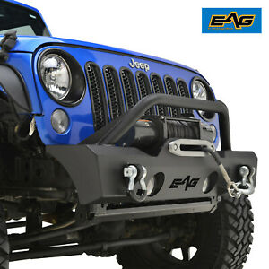 Eag Stubby Front Bumper W Fog Light Holes Fit 07 18 Jeep Wrangler Jk