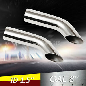 1 5 Polished Turn Down Exhaust Tip 1 1 2 Inlet 8 Long Stainless Steel 2pcs